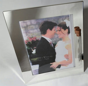Wedding Picture Frame - Holds Shards from Jewish Wedding Ceremony Jewish Engagement - Holds 8x10 Photo - Jewish Wedding - Shiny Silver Color