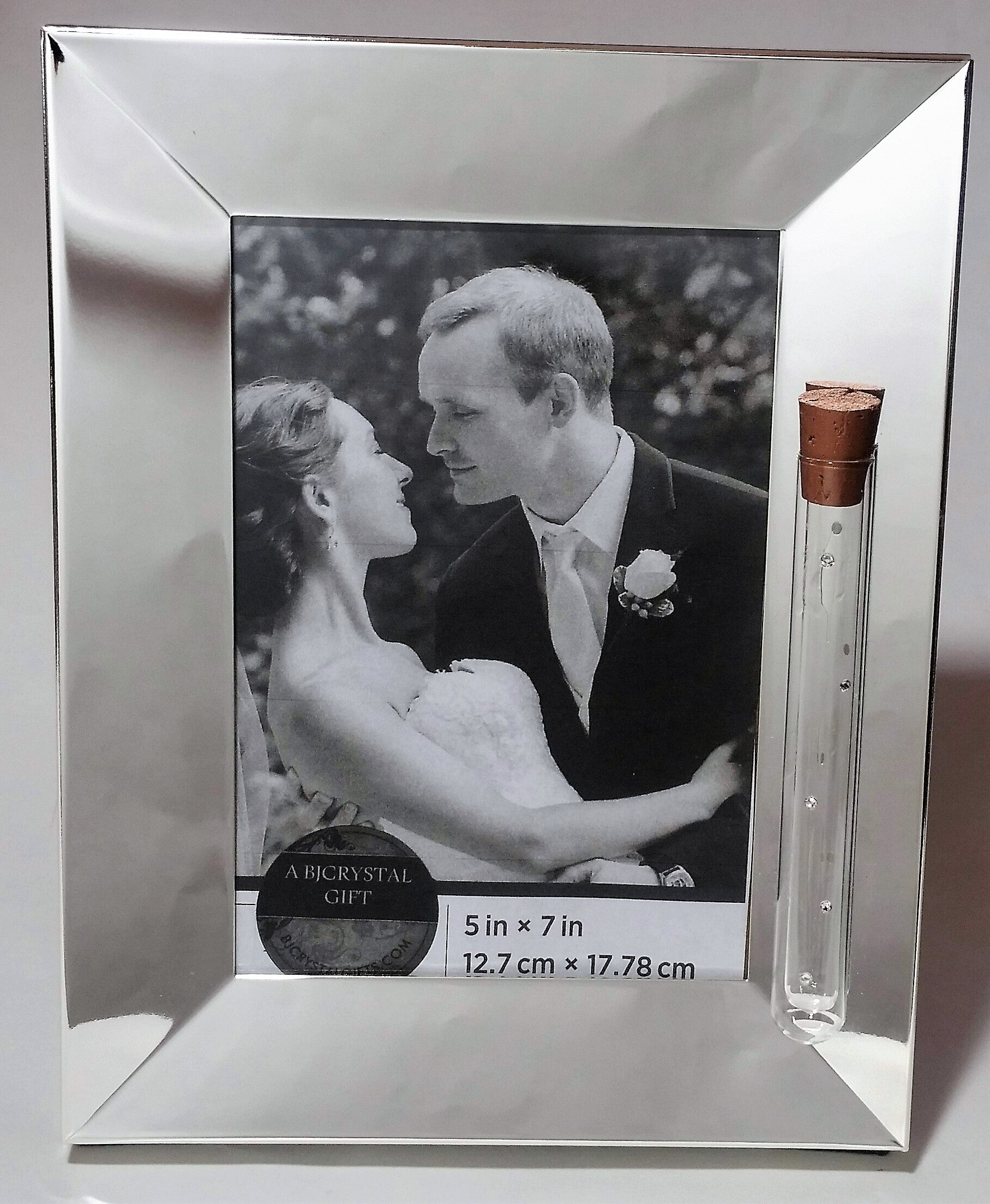 Jewish Wedding Picture Frame - Jewish Engagement Gift - Silver Plated Reflective - 5x7 Picture