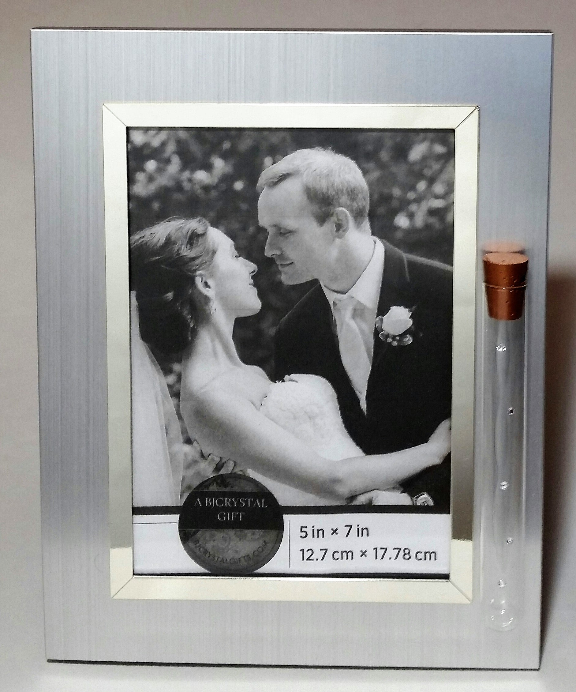 Jewish Wedding Picture Frame - Jewish Engagement Gift - 5x7 Picture - Brush Silver Color with Reflective Silvertone Trim