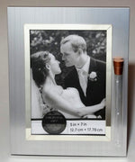 Load image into Gallery viewer, Jewish Wedding Picture Frame - Jewish Engagement Gift - 5x7 Picture - Brush Silver Color with Reflective Silvertone Trim