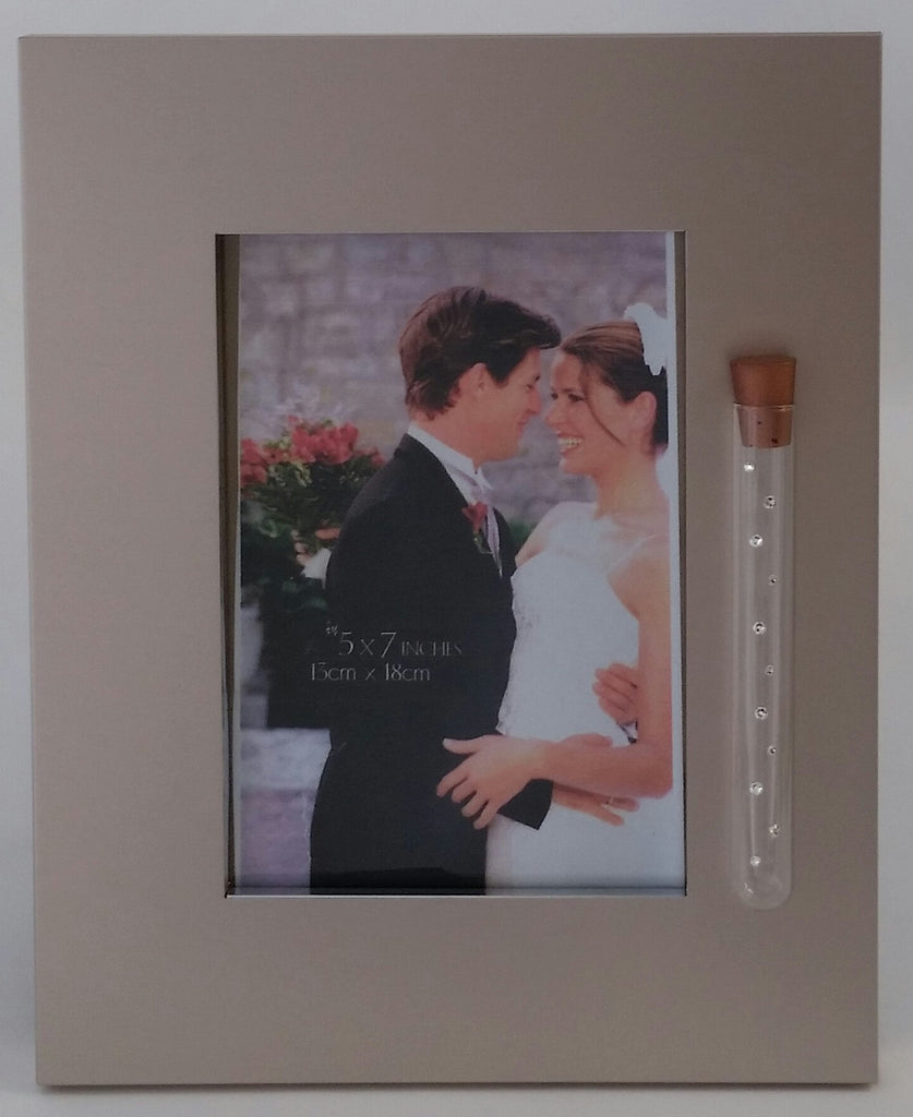 Jewish Wedding Picture Frame - Brush Silver - Jewish Engagement Gift