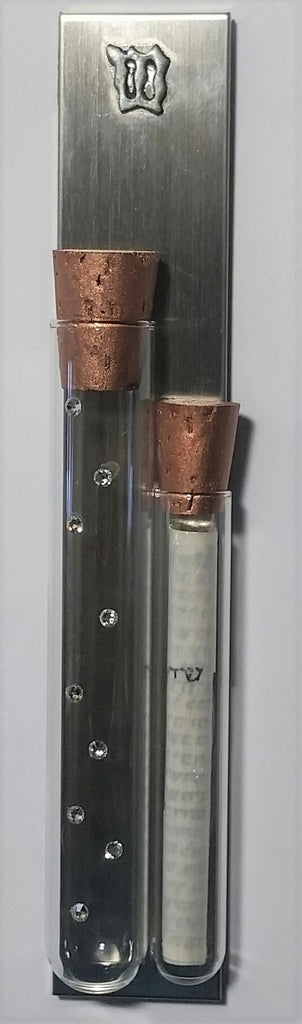 Jewish Wedding Mezuzah - Holds Shards From Wedding Ceremony - Comes With a kosher Scroll