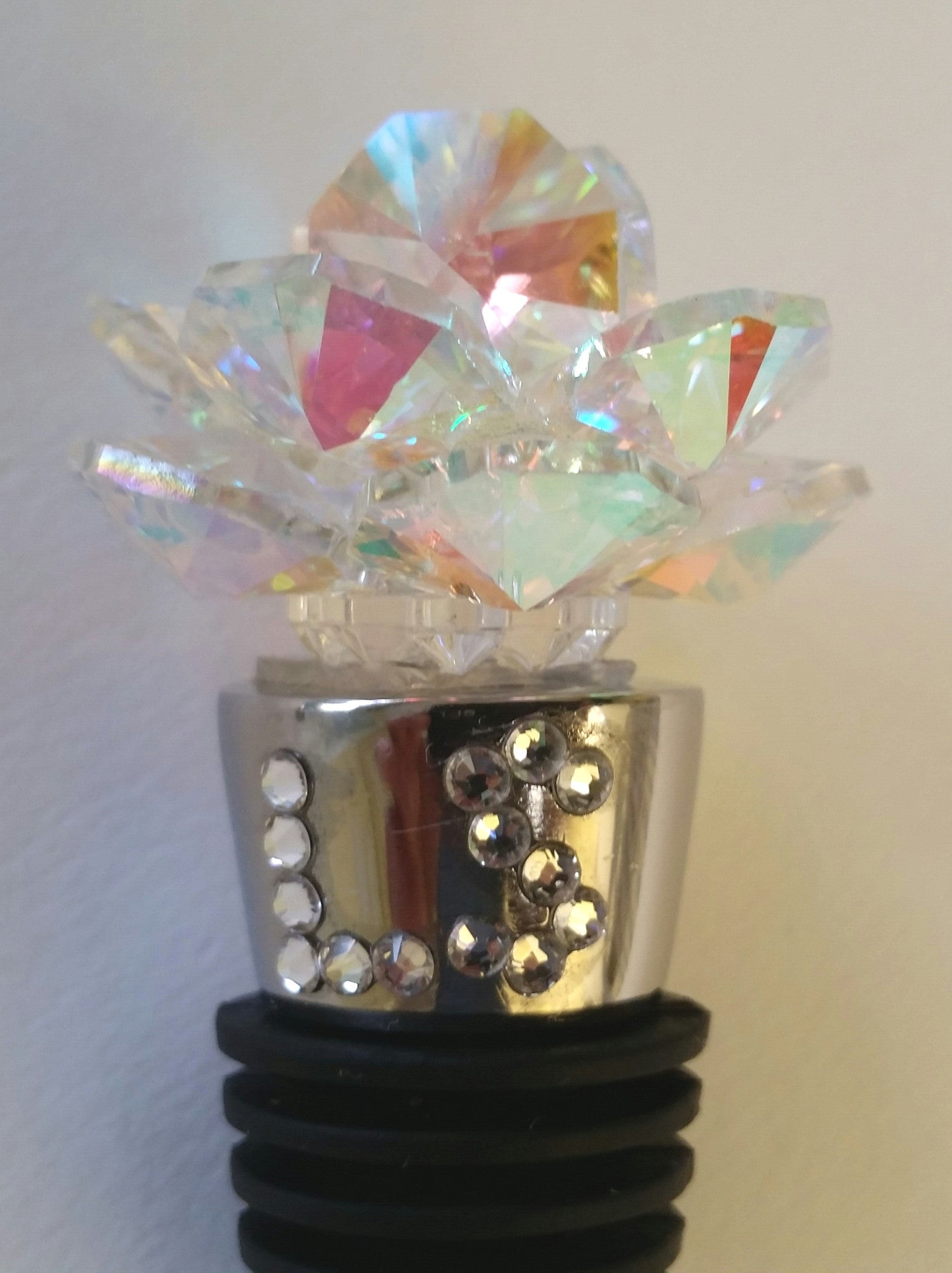 Aurora Borealis Crystal Rose Wine Stopper - Personalized