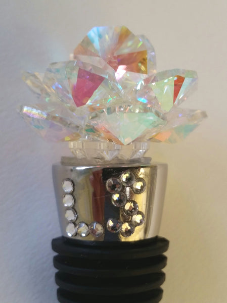 AB Crystal Rose Wine Stopper - Personalized Wine Stopper - Handcrafted With Swarovski Crystal