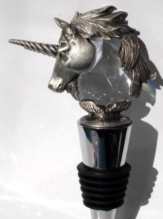 Crystal Unicorn Wine Stopper - Pewter Unicorn Wine Stopper - Stainless Steel Wine Stopper