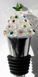 Crystal Christmas Tree Wine Stopper Hand Crafted By The Artisans At Bjcrystalgifts Using Swarovski Crystal