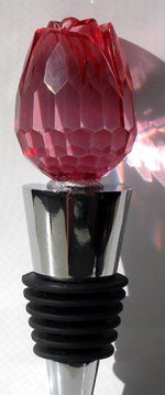 Load image into Gallery viewer, Bottle Stopper Wine Topper Stainless Steel Base with Red Glass Rosebud