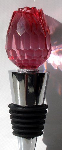 Bottle Stopper Wine Topper Stainless Steel Base with Red Glass Rosebud