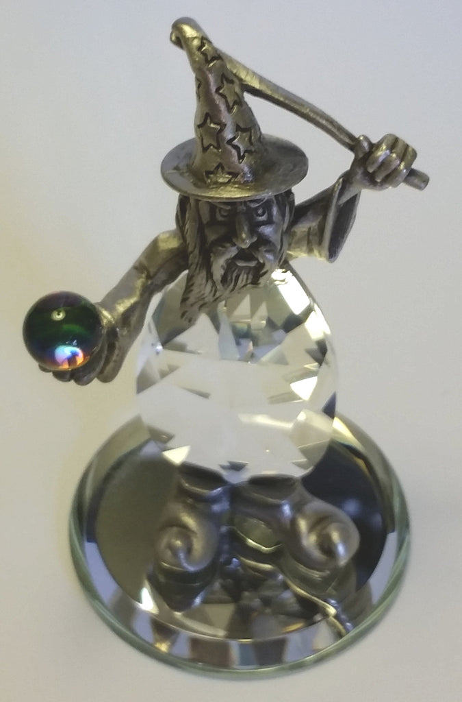 Pewter Wizard Miniature - Crystal Wizard Figurine Handcrafted With Swarovski Crystal - Whimsical Wizard