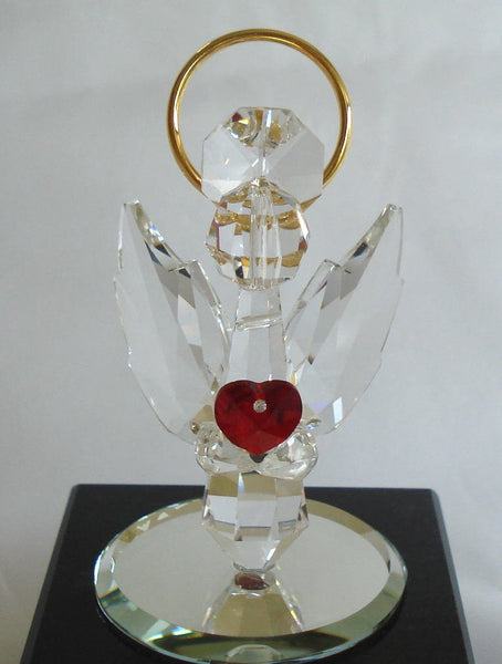 Crystal Angel with Red Heart Made with Swarovski Crystal with Pink Ribbon - Breast Cancer Awareness