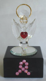 Load image into Gallery viewer, Crystal Angel with Red Heart Made with Swarovski Crystal with Pink Ribbon - Breast Cancer Awareness