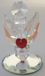 Load image into Gallery viewer, Crystal Angel Holding a Red Crystal Heart Handcrafted By Bjcrystalgifts Using Swarovski Crystals - Guaurdian Angel