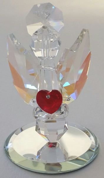 Crystal Angel Holding a Red Crystal Heart Handcrafted By Bjcrystalgifts Using Swarovski Crystals - Guaurdian Angel