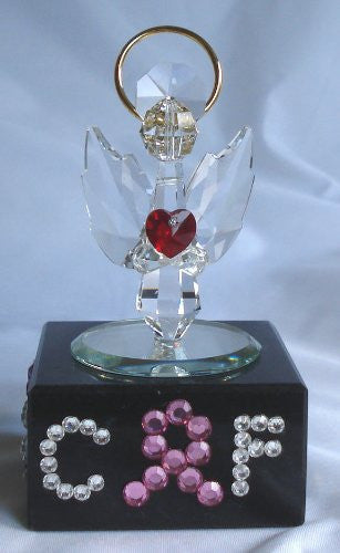 Guardian Angel with Red Heart Made with Swarovski Crystal Personalized with Initials and Pink Ribbon for Breast Cancer Awareness