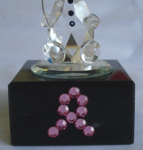 Crystal Balloon Clown Made with Swarovski Crystal on Marble Base with Pink Ribbon - Inspirational Gift - Breast Cancer