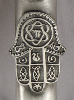 Load image into Gallery viewer, Pewter Chamsa Mezuzah with Kosher Mezuzah Scroll - Mezuzah for Door - Klaf