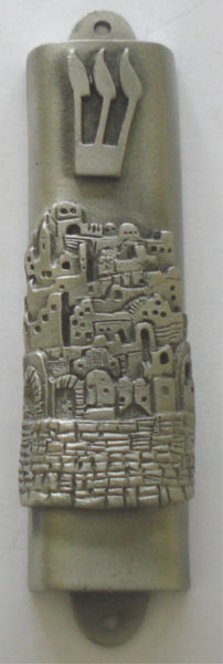 Pewter Jerusalem Mezuzah - Comes with Kosher Scroll - Judaica - Jewish Housewarming