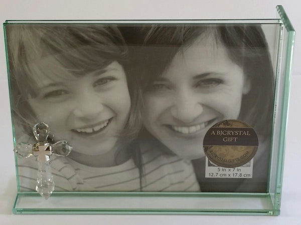 Crystal Cross Picture Frame Holds 5x7 Inch Picture - Glass Picture Frame