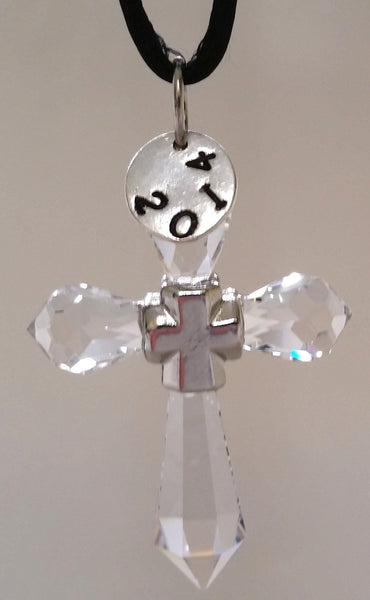 Hanging Crystal Cross Ornament Handcrafted By the Artisans At Bjcrystalgifts Using Swarovski Crystal with Hand Stamped Year