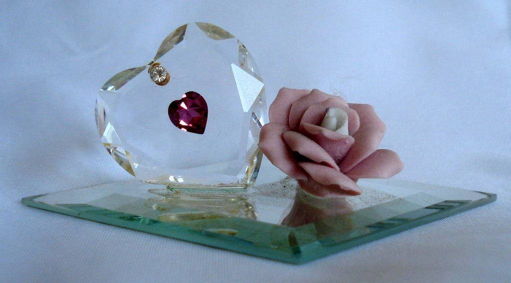 Crystal Heart Made with Swarovski Crystal with Ceramic Pink Rose