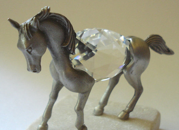 Pewter and Crystal Horse on Marble Base Made with Swarovski Crystal - Horse Figurine
