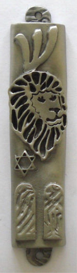 Load image into Gallery viewer, Lion of Judah Mezuzah Pewter with Ten Commandments - Kosher Mezuzah Scroll - Mezuzot