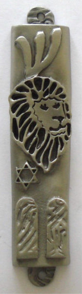 Lion of Judah Mezuzah Pewter with Ten Commandments - Kosher Mezuzah Scroll - Mezuzot