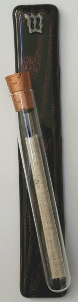 Chocolate Brown Dichroic Glass Mezuzah Case with Kosher Scroll - Mezuzah for Door