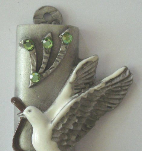 Pewter Mezuzah Peace Dove Handpainted Made with Swarovski Crystals - Dove Mezuzah for the Door