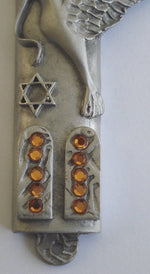 Load image into Gallery viewer, Mezuzah with Ten Commandmeosher Mezuzah Parchment with Swarovski Crystals and a Kosher Scroll