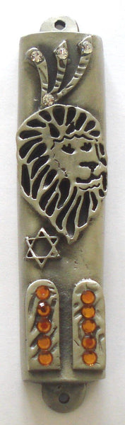Lion of Judah Pewter Mezuzah with Ten Commandments Decorated with Swarovski Crystal and Kosher Mezuzah Scroll