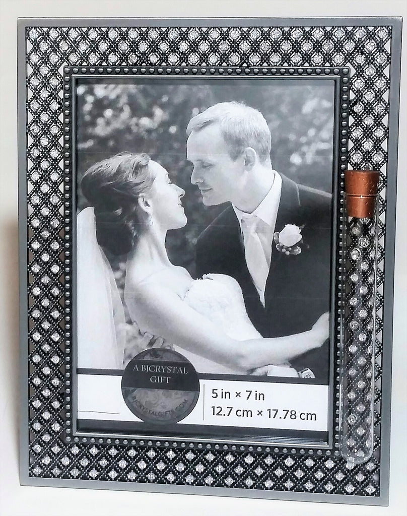 Jewish Wedding Picture Frame - Jewish Engagement Gift - Chuppah - 5x7 Picture - Jeweled Wedding Frame