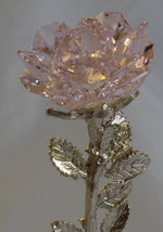 Load image into Gallery viewer, Crystal Pink Rose with Pink Ribbon - Inspirational Gift - Breast Cancer - Marble Base