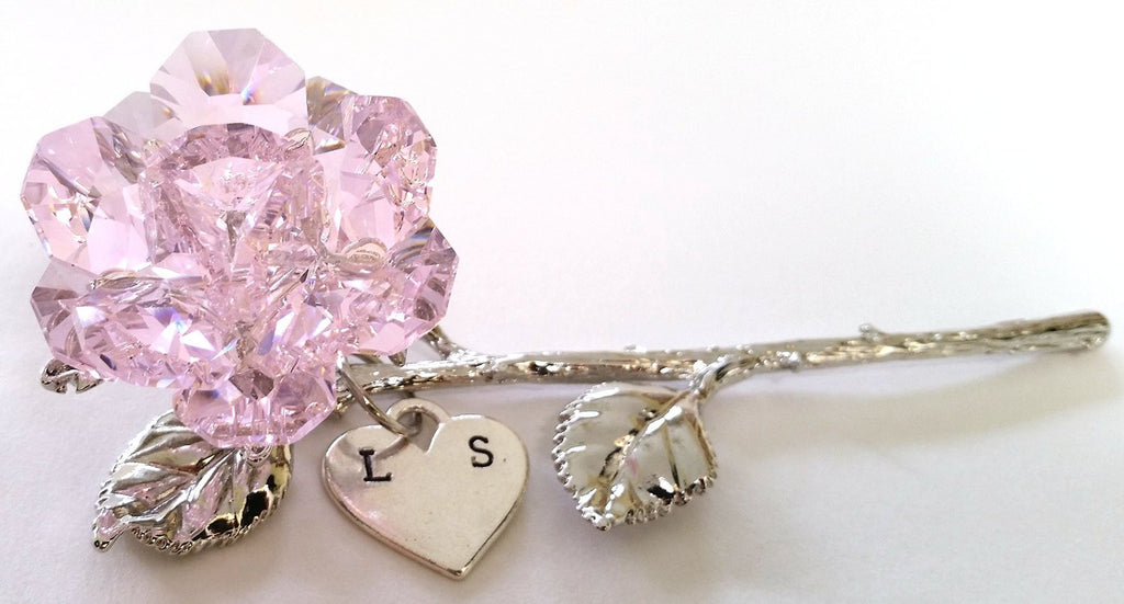 Pink Rose - Crystal Rose Handcrafted By the Artisans At Bjcrystalgifts Using Swarovski Crystal Personalized with Hand Stamped Initials