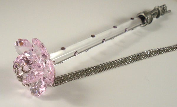 Torah Pointer - Yad - Handcrafted By Bjcrystalgifts - Pink Rose- Made Using Swarovski Crystal - Bar Mitzvah - Bat Mitzvah Gift