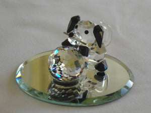 Adorable Crystal Puppy with Ball Handcrafted Using Swarovski Crystal