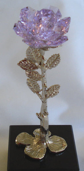 Rose Made with Swarovski Crystal Purple Rose on Marble Base - Handcrafted By Bjcrystalgifts