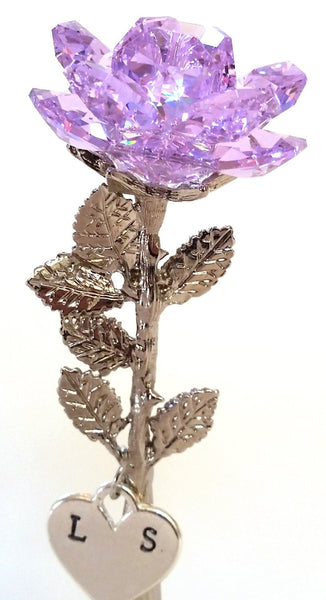 Crystal Purple Rose Handcrafted By the Artisans At Bjcrystalgifts Using Swarovski Crystal with Personalized Initials