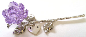 Purple Rose - Purple Crystal Rose Handcrafted By the Artisans At Bjcrystalgifts Using Swarovski Crystal Personalized with Hand Stamped Initials