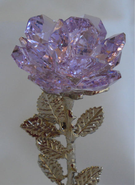 Crystal Rose Purple Made with Swarovski Crystal on Marble Base with Initials - Personalized Gift