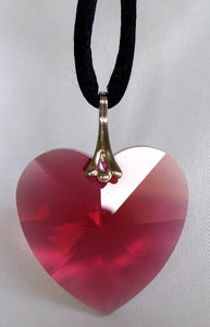 Crystal Red Heart Necklace on Black Cord Handcrafted With Swarovski Crystal