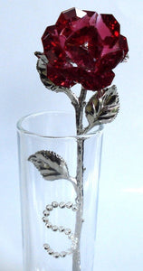 Red Crystal Rose Made with Swarovski Crystal with Initial