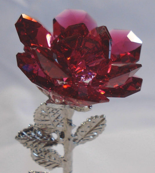 Crystal Rose Red Made with Swarovski Crystals on Marble Base