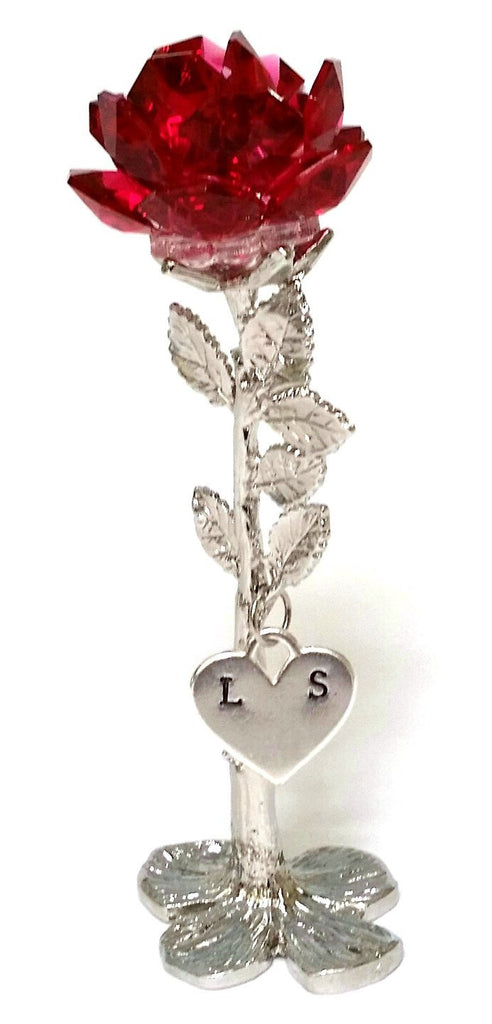 Red Rose - Crystal Red Rose with Initials on a Heart - Personalized Red Rose