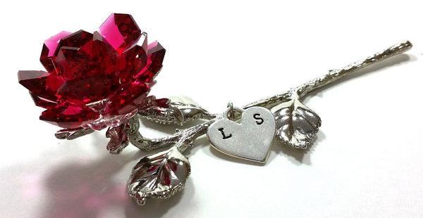 Lying Red Crystal Rose with Heart and Initials - Personalized Red Crystal Rose
