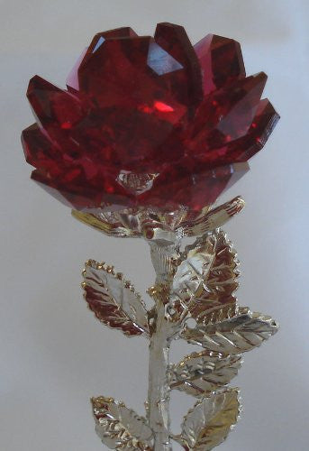 Personalized Red Rose on Marble Base Made with Swarovski Crystal - Personalized Gift