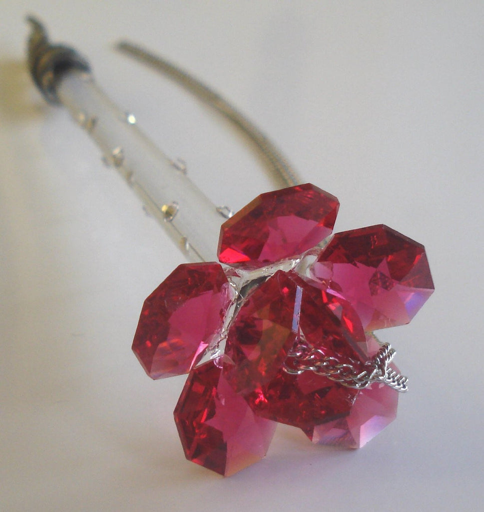 Torah Pointer - Yad - Bar Mitzvah - Handcrafted By the Bjcrystalgifts Uising Swarovski Crystal - Red Rose - Bat Mitzvah