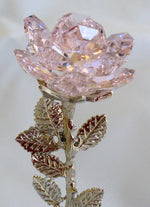 Load image into Gallery viewer, Crystal Rose Pink on Marble Base Made with Swarovski Crystal - Pink Crystal Rose