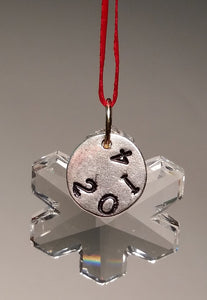 Crystal Snowflake Christmas Ornament with Year and Red Ribbon - Personalized Christmas Ornament