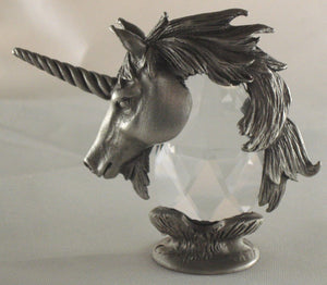 Pewter and Crystal Unicorn Miniature Handcrafted By Bjcrystalgifts Using Swarovski Crystal - Unicorn Figurine